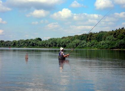 В забродку ловят осторожную рыбу стоящую далеко