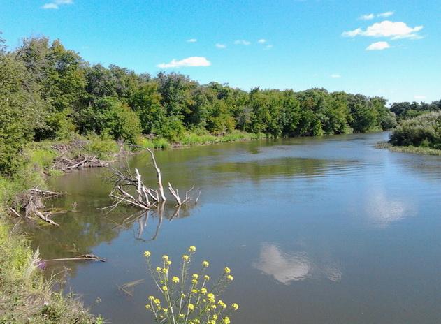 Поворот реки с препятствиями для ловли на полудонку