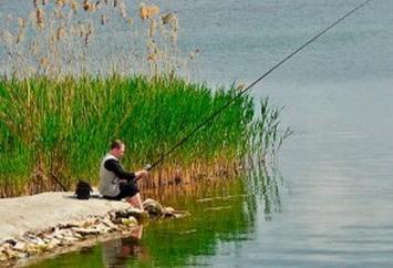 рыбалка с удочкой на мелкком берегу